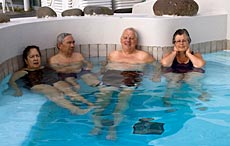 A popular activity in Iceland, sitting in a hot tub